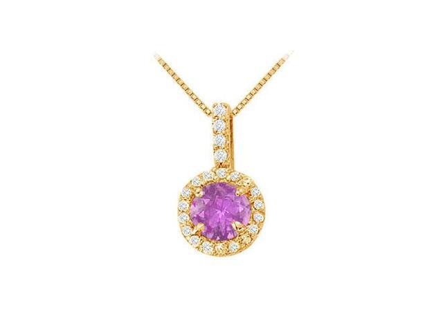 Fancy Round Amethyst and Cubic Zirconia Halo Pendant in 14K Yellow Gold