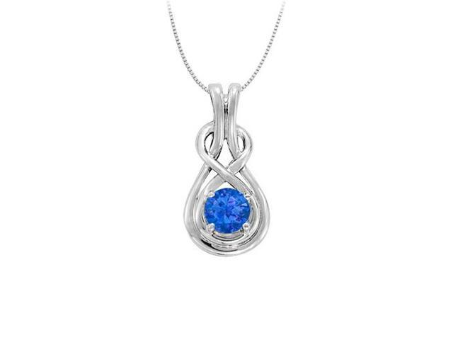 Knot Pendant in Sterling Silver with September Birthstone Created Sapphire 0.50 CT TGW