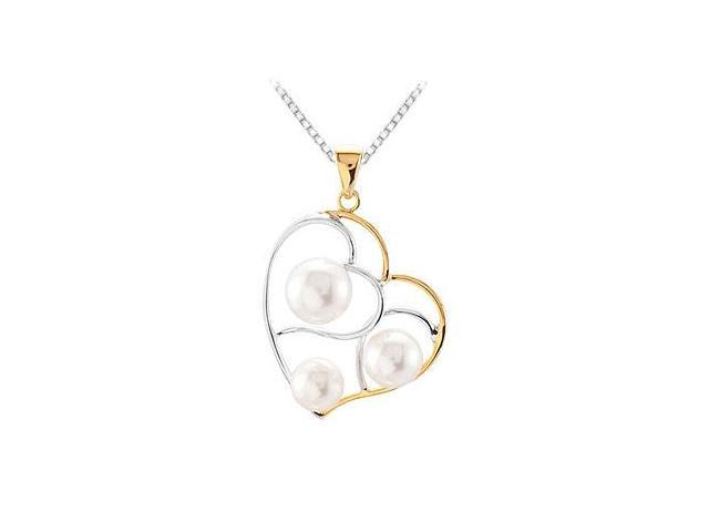 Sterling Silver  Yellow Gold Plated Freshwater Cultured Pearl Pendant