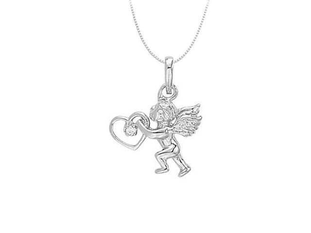 Sterling Silver Love Cupid Pendant with Heart and Cubic Zirconia 0.02 CT TGW