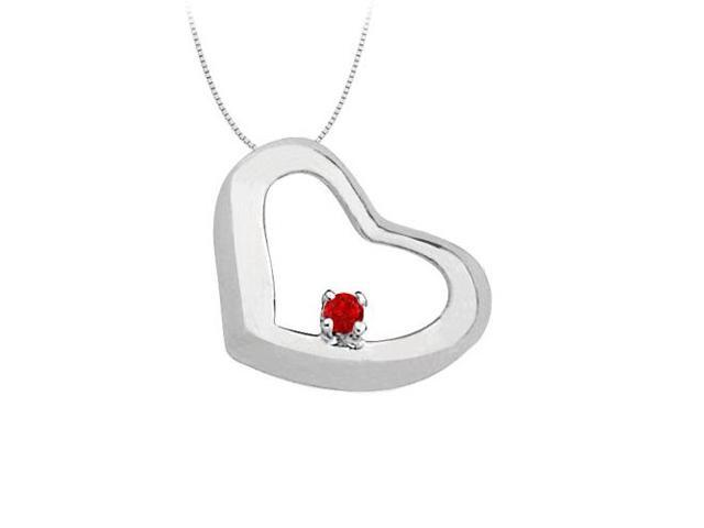 July Birthstone  Ruby Heart Pendant in 14kt White Gold  0.15 CT TGW