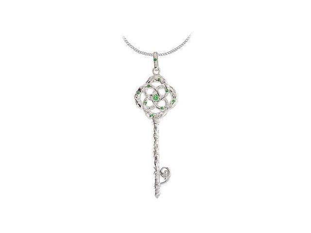 Rhodium Plating Sterling Silver with Genuine Tsavorite Garnet Vine Key Pendant Necklace 18 Inch
