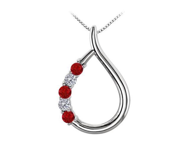 Tear Drop Gemstone Pendant with Diamonds and Rubies in 14K White Gold 0.25 CT TGW