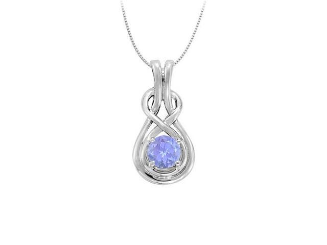 Knot Pendant in Sterling Silver with December Birthstone Created Tanzanite 0.50 CT TGW