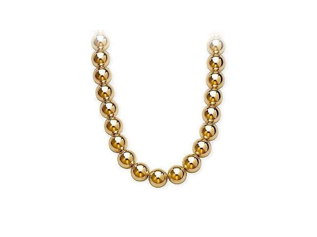 Gold Beads Necklace on 14K Yellow Gold Chain with 10MM Yellow Gold Beads