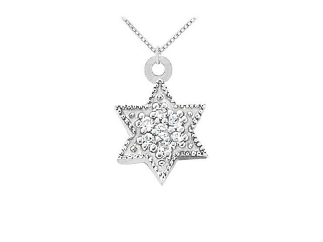 Cubic Zirconia Star Pendant in Sterling Silver 0.10 CT TGW with Sterling Silver Chain