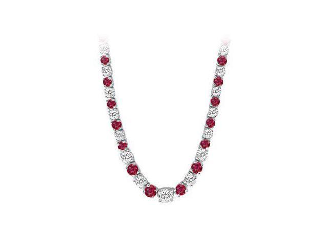 Graduated Created Ruby  CZ Tennis Necklace in Sterling Silver 17.00.ct.tw