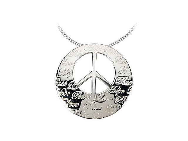 Rhodium Plating .925 Sterling Silver Engraved HOPE LIFE PEACE and LOVE Pendant 30.25X29.75 MM