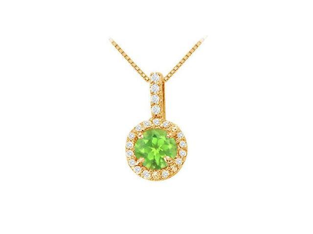 Fancy Round Peridot and Cubic Zirconia Halo Pendant in 14K Yellow Gold