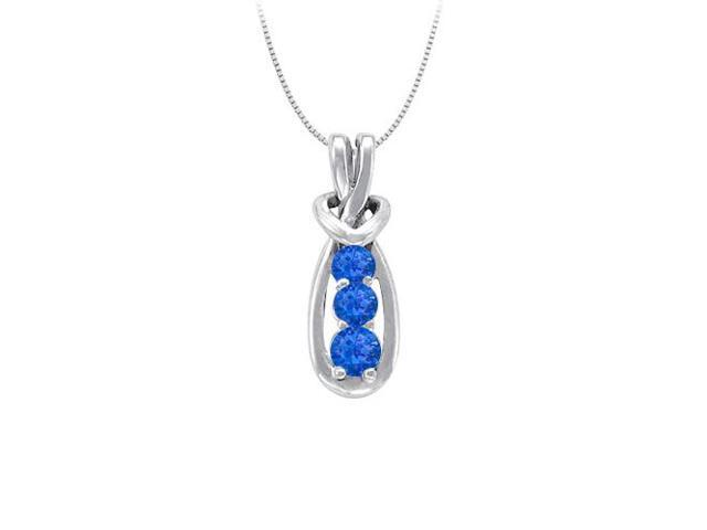 Knot Pendant in Sterling Silver with September Birthstone Created Sapphire  0.25 CT TGW