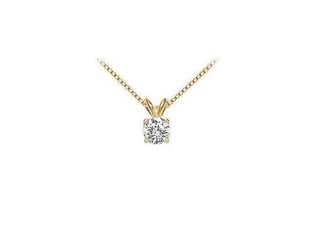 14K Yellow Gold  Round Diamond Solitaire Pendant - 0.75 CT.TW.