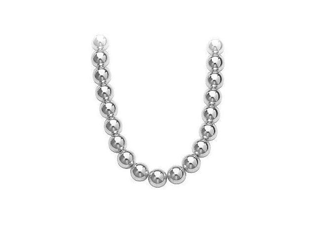 Gold Beads Necklace on 14K White Gold Chain with 10MM White Gold Beads