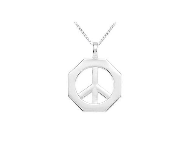 Sterling Silver Octagon Shaped Peace Sign Pendant