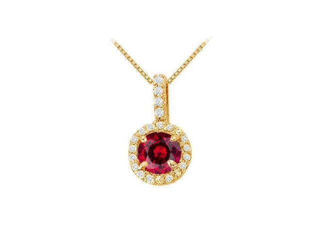 Fancy Round Ruby and Cubic Zirconia Halo Pendant in 14K Yellow Gold