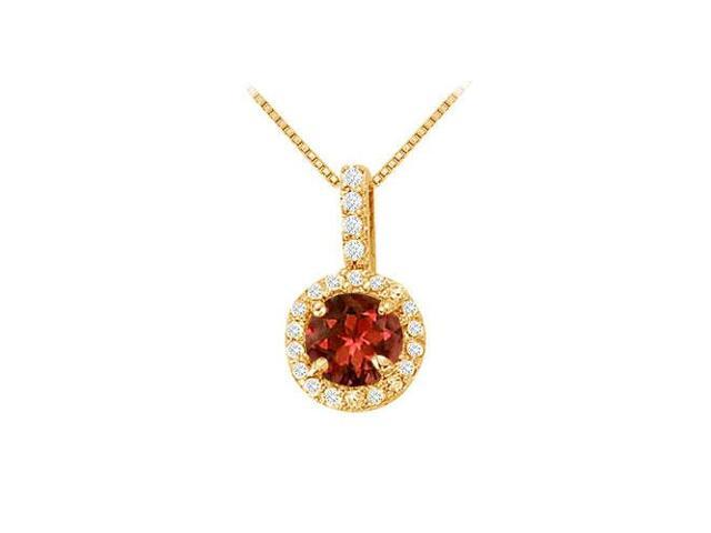 Fancy Round Garnet and Cubic Zirconia Halo Pendant in 14K Yellow Gold