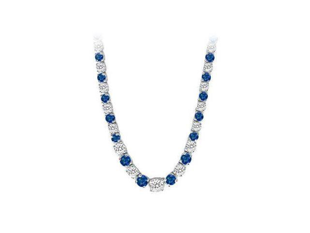 Graduated Created Sapphire  CZ Tennis Necklace in Sterling Silver 17.00.ct.tw