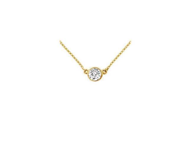 18K Yellow Gold  Bezel Set Round Diamond Solitaire Pendant - 0.15 CT. TDW.