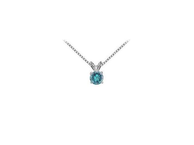 Blue Diamond Solitaire Pendant  14K White Gold - 0.50 CT Diamonds