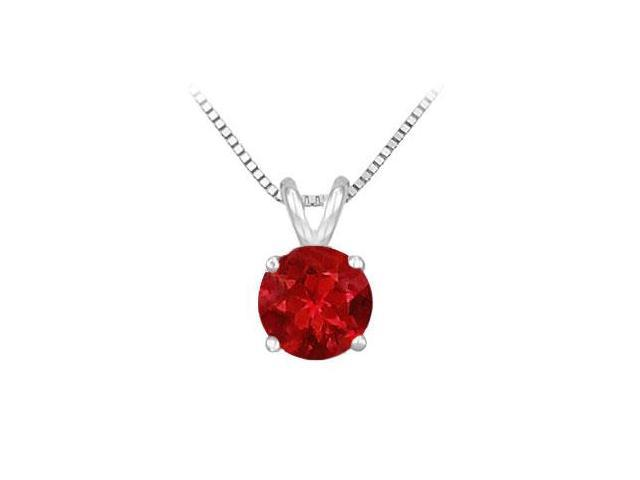 14K White Gold Prong Set Natural Ruby Solitaire Pendant 1.00 CT TGW