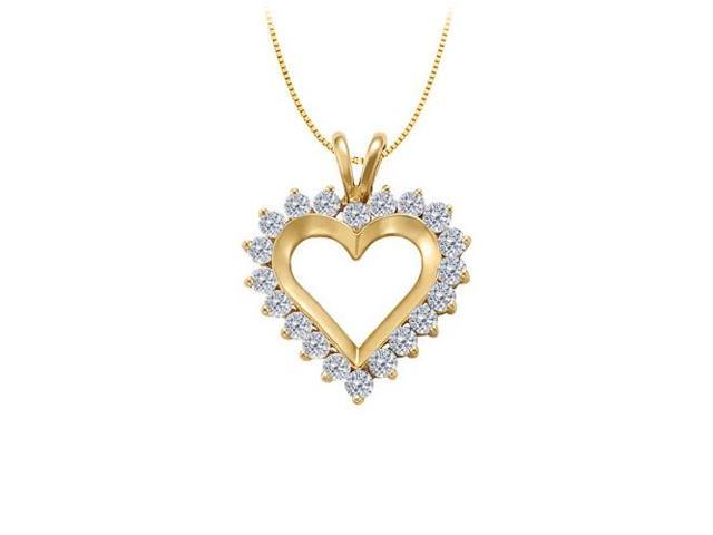 April birthstone Diamond Heart Pendant 14K Yellow Gold With Total 1.00 Carat Diamonds in Heart