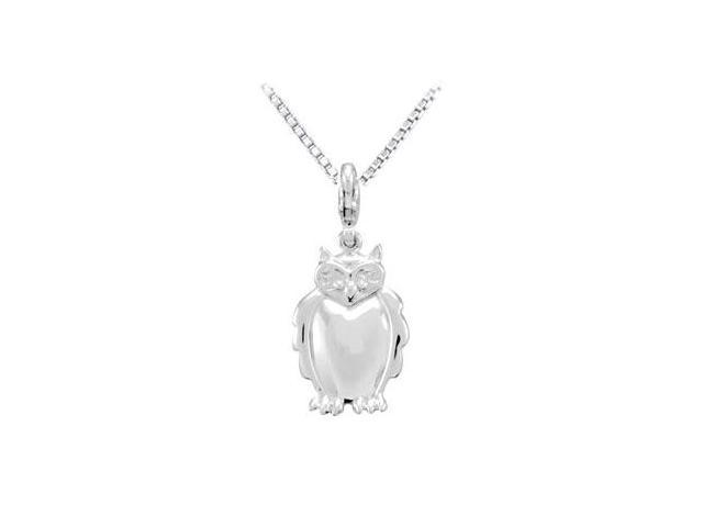 Sterling Silver Charming Animal Owl Charm Pendant