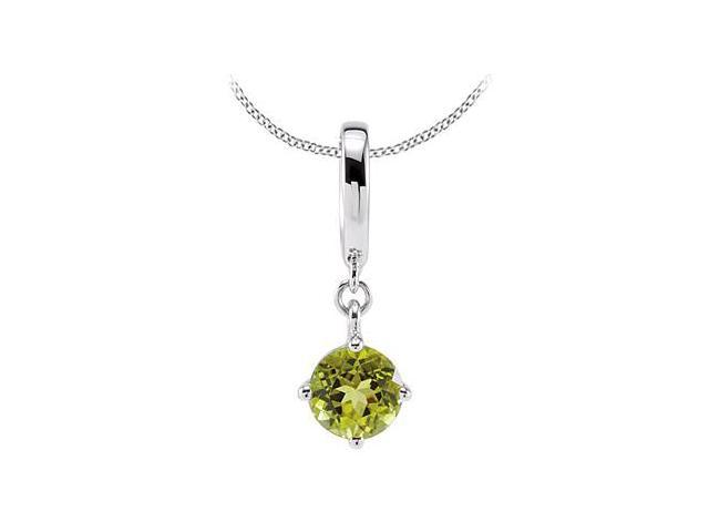 Rhodium Plating .925 Sterling Silver with Genuine Peridot Pendant of 1 Carat Total Gem Weight
