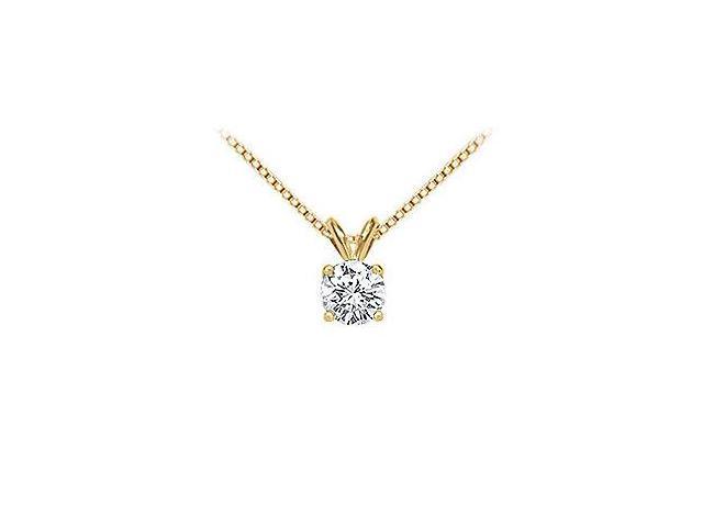 14K Yellow Gold  Round Diamond Solitaire Pendant - 1.00 CT. TW.
