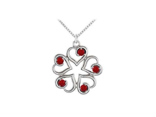 July Birthstone Created Ruby Heart Pendant in 14kt White Gold 0.25 CT TGW