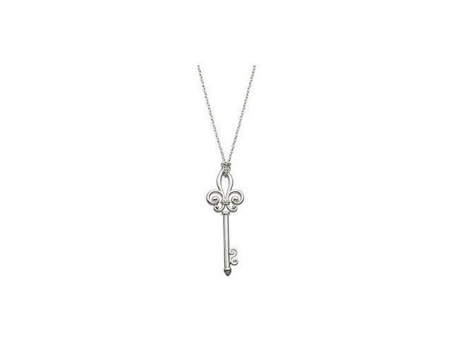 Fleur De Lis Key Pendant in Rhodium Plating .925 Sterling Silver