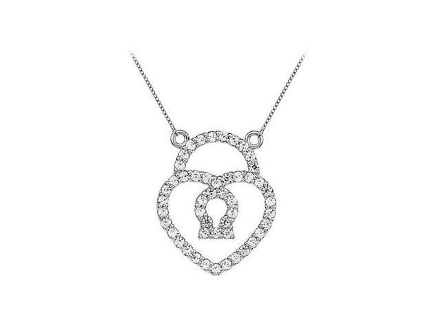 Cubic Zirconia Petite Heart Lock Charm Pendant in 14kt White Gold 0.50.ct.tw