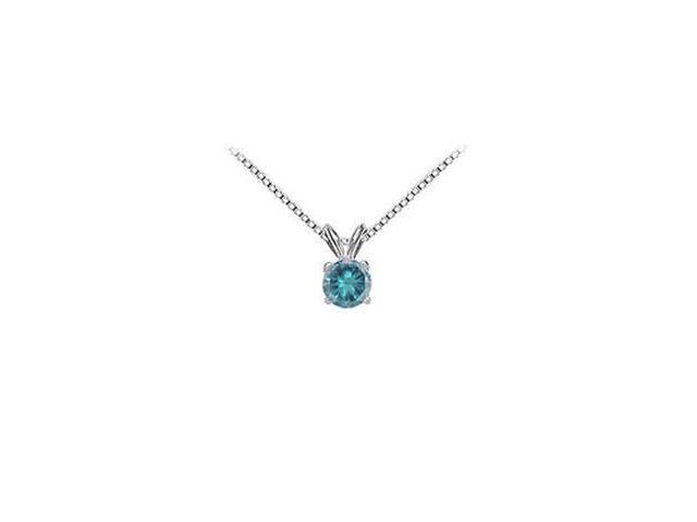 Blue Diamond Solitaire Pendant  14K White Gold - 0.75 CT Diamonds
