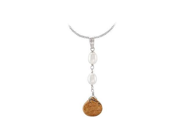 Freshwater Cultured Pearl and Genuine Jasper in Rhodium Plating .925 Sterling Silver Pendant