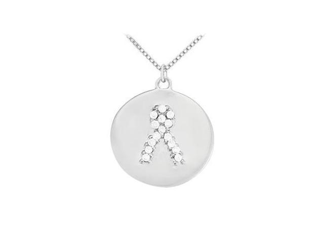 Cubic Zirconia Cancer Awareness Ribbon  Disc Pendant in Sterling Silver 0.10 CT TGW