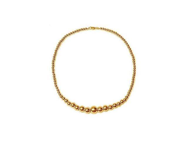 Gold Beads Graduated Necklace on 14K Yellow Gold Chain with Graduated Gold Beads