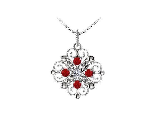 July Birthstone Created Ruby and CZ Heart Pendant in 14kt White Gold 0.50 CT TGW