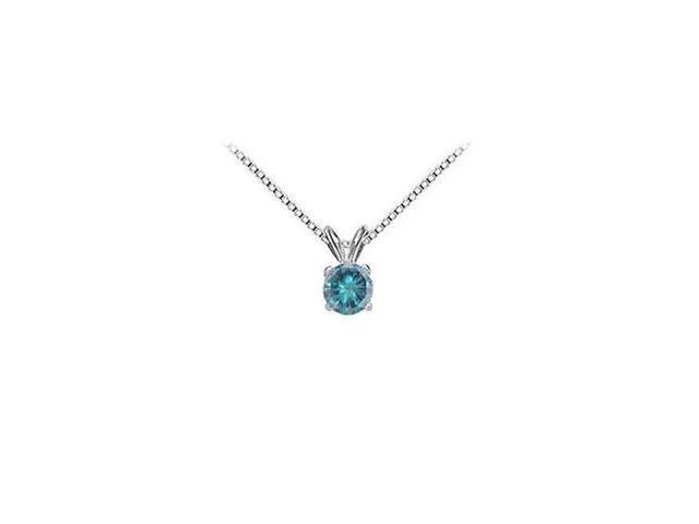 Blue Diamond Solitaire Pendant  14K White Gold - 1.00 CT Diamonds