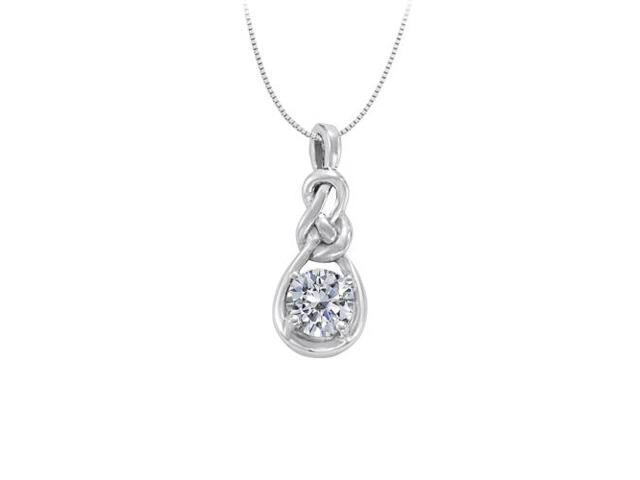April Birthstone Cubic Zirconia Knot Pendant in Sterling Silver 1.00 CT TGW
