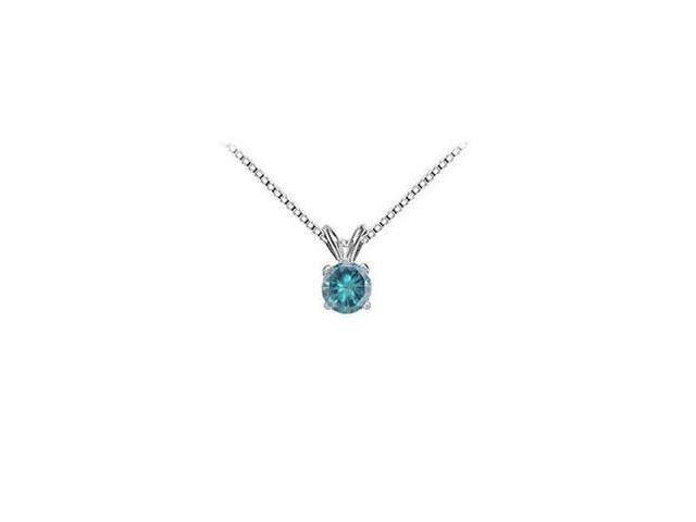 Blue Diamond Solitaire Pendant  14K White Gold - 1.50 CT Diamond