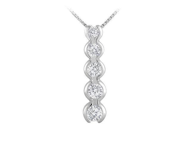 Diamond Journey Pendant  14K White Gold - 1.00 CT Diamonds