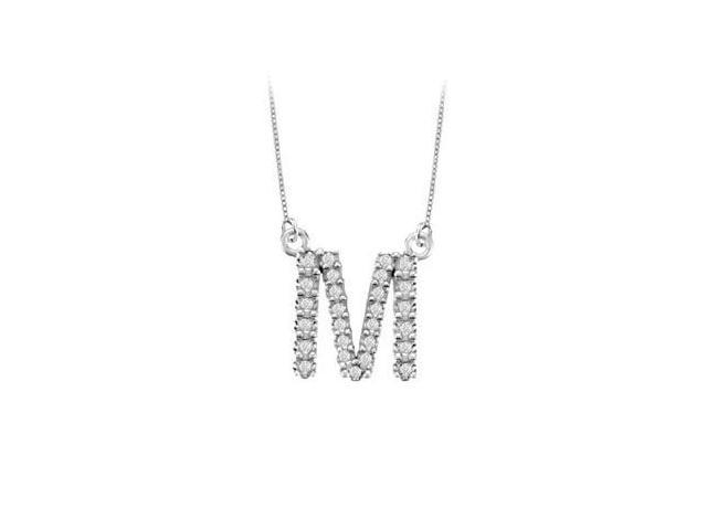 Petite Baby Charm Cubic Zirconia M Initial Pendant  .925 Sterling Silver - 0.33 CT TGW
