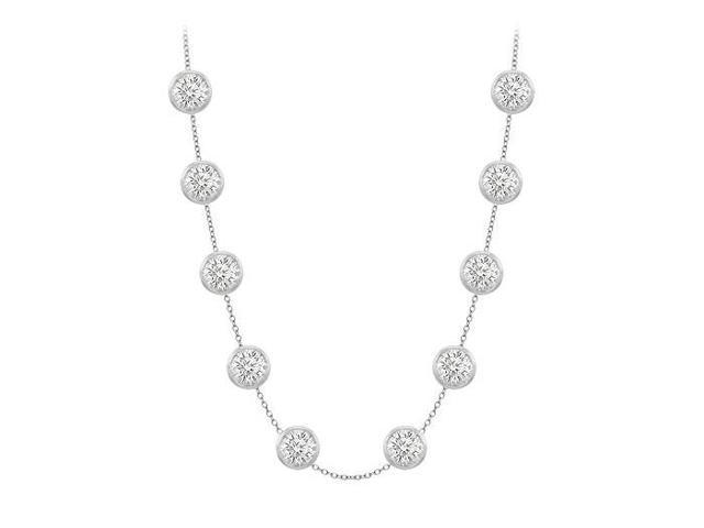 Diamonds By The Yard Necklace on a 14K White Gold Bezel Set 3.00 ct.tw