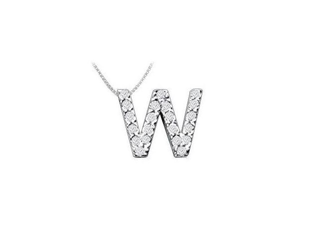 CZ Initial Sterling Silver W Pendant