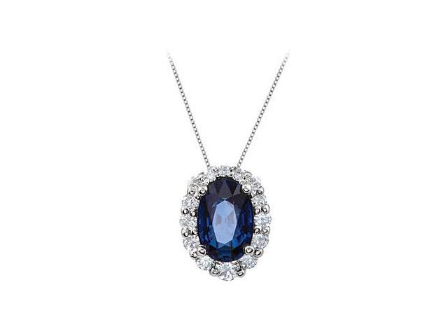 Created Sapphire and CZ Halo Pendant in 14kt White Gold 1.25.ct.tgw