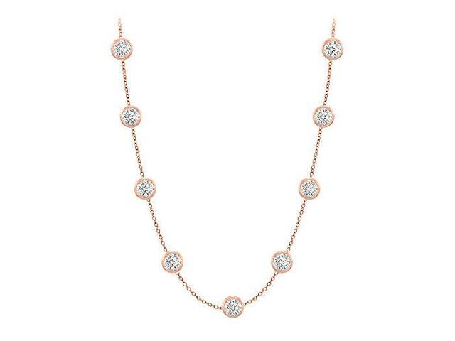 Diamonds By The Yard Necklace in 14K Rose Gold Bezel Set 1.50 ct.tw
