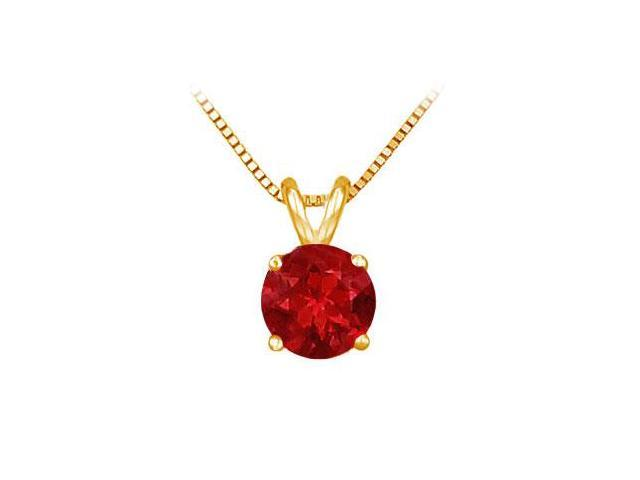 14K Yellow Gold Prong Set Natural Ruby Solitaire Pendant 1.00 CT TGW