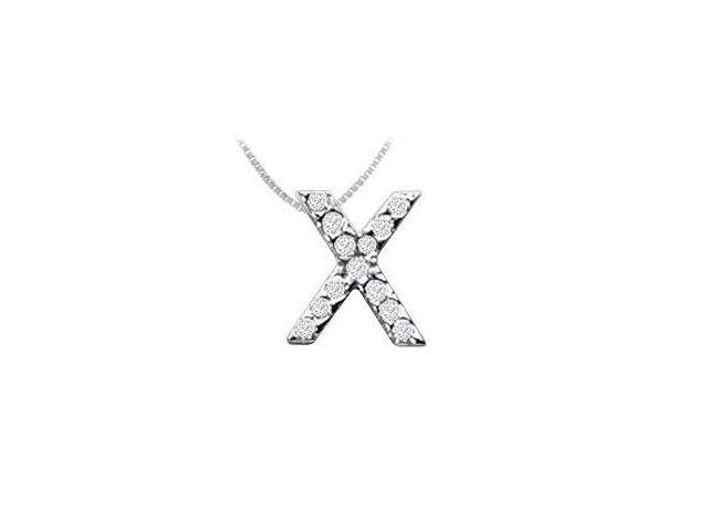 CZ Initial Sterling Silver X Pendant