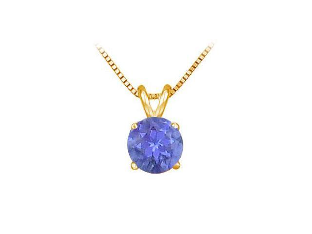 14K Yellow Gold Prong Set Natural Tanzanite Solitaire Pendant 0.25 CT TGW