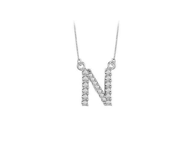 Petite Baby Charm Diamond N Initial Pendant  14K White Gold - 0.20 CT Diamonds