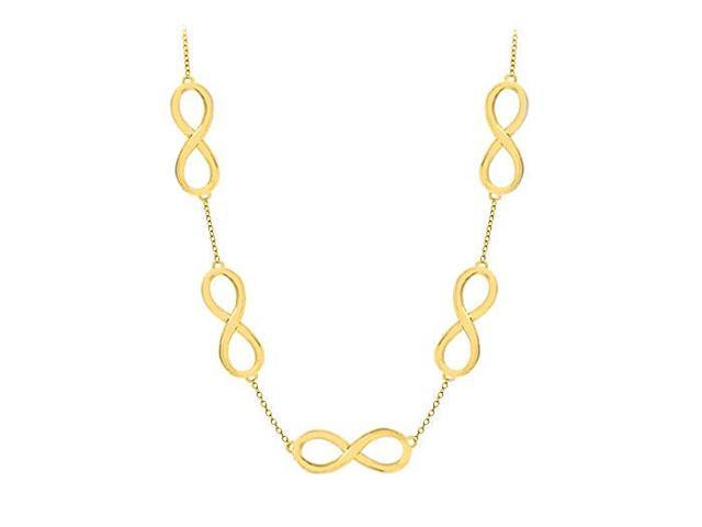 Infinity Necklace in 14K Yellow Gold 17 Inch Long