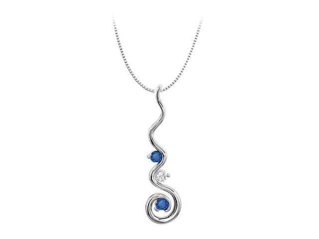 September Birthstone Sapphire and CZ Spiral Pendant in 14K White Gold 0.50 CT TGW